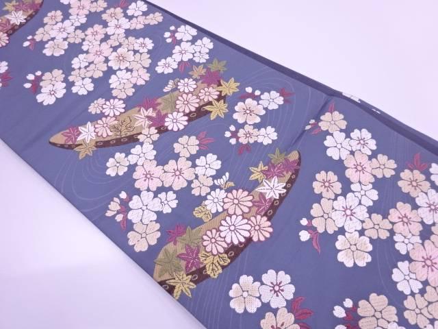 唐織舟に桜・紅葉模様織出し袋帯【リサイクル】【中古】