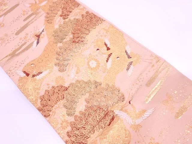 笠松に群鶴・古典柄模様織出し袋帯【リサイクル】【中古】