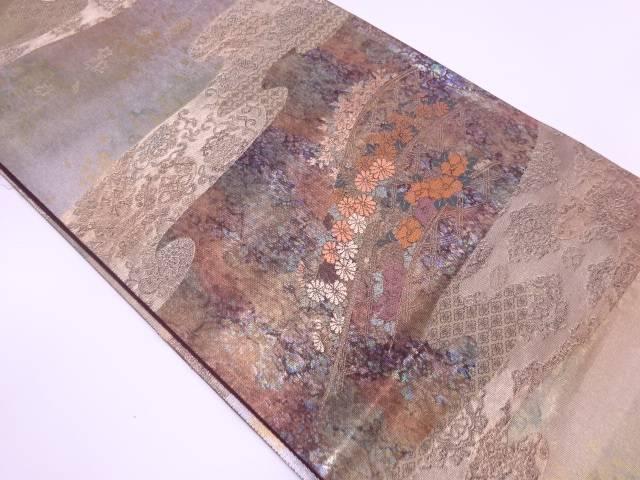 未使用品 藤沢機業製 引箔四季花園文織出し袋帯【リサイクル】【中古】