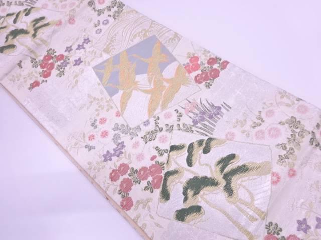 色紙に群鶴・秋草模様織出し袋帯【リサイクル】【中古】