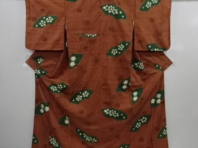 紗 絞り 地紙に花模様手織り真綿紬着物(重ね衿付き)【リサイクル】【中古】