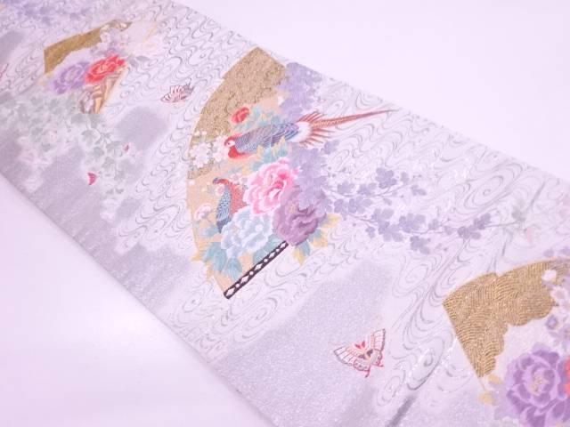 扇面に花鳥模様織出し袋帯 【リサイクル】【中古】