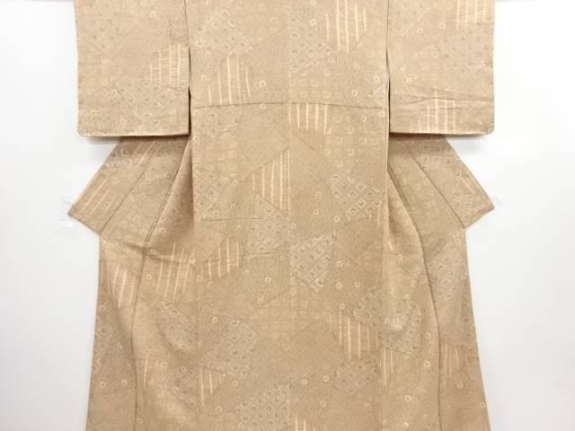 未使用品 絞り切りばめ風花鳥模様手織り節紬着物【リサイクル】【中古】