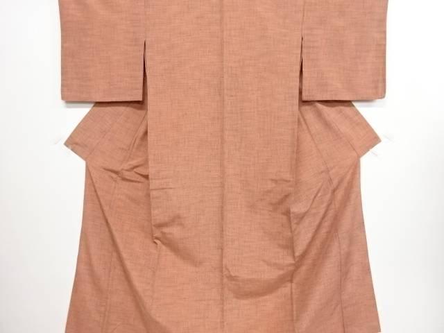 格子織り出し手織り紬単衣着物【リサイクル】【中古】