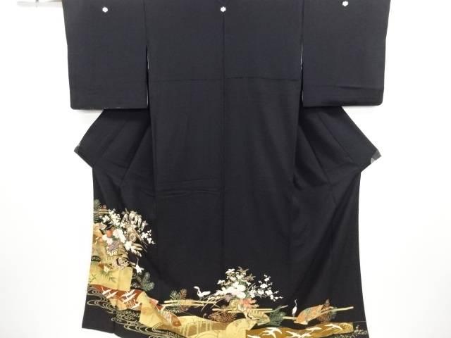 金彩花車模様留袖(比翼付き)【リサイクル】【中古】