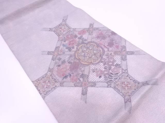 汕頭相良刺繍蜀江文に草花模様袋帯【リサイクル】【中古】