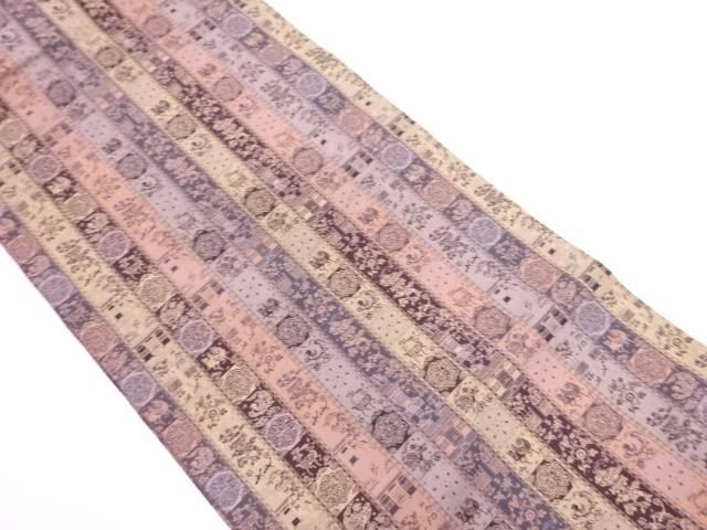 未使用品 龍村美術織物製 紅牙瑞錦織出し開き名古屋帯(額縁仕立て)【リサイクル】【中古】