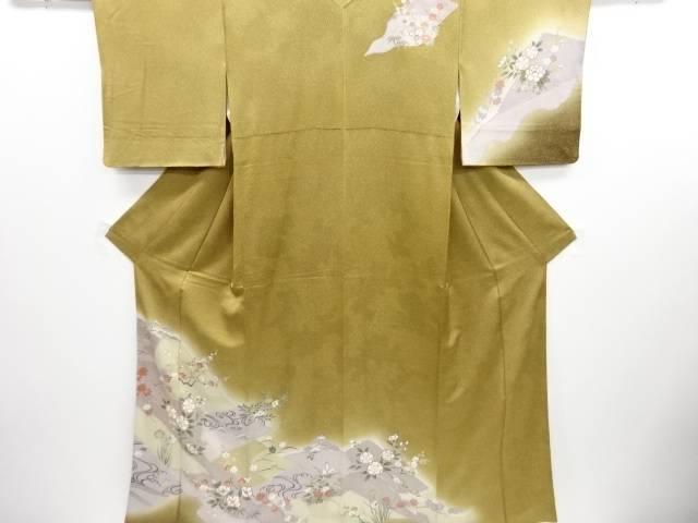桜椿に草花流水模様刺繍訪問着【リサイクル】【中古】