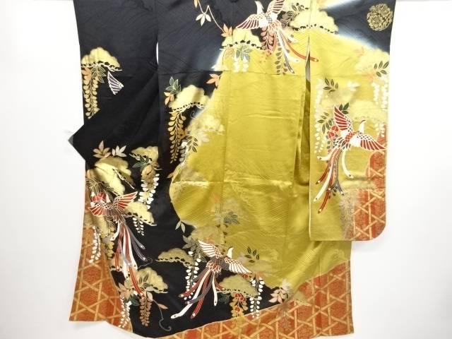 金彩松藤に尾長鳥模様刺繍振袖【リサイクル】【中古】