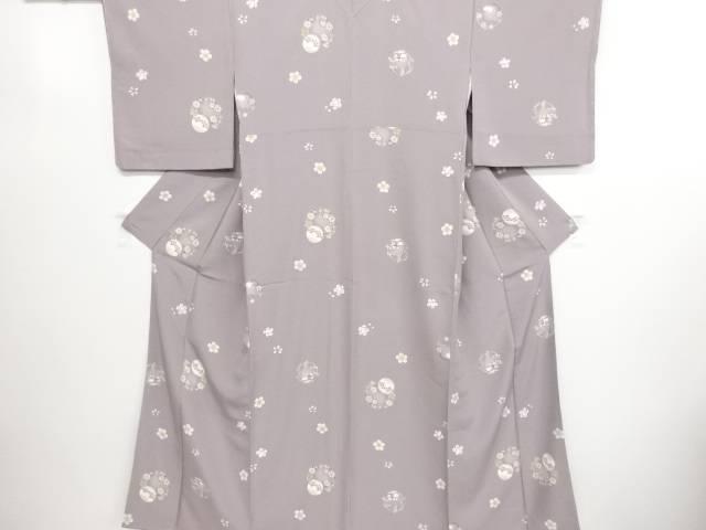 未使用品 仕立て上がり 桜に毬・兎模様小紋着物