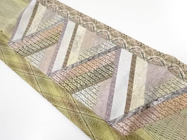 組み織り切りばめ幾何学模様袋帯【リサイクル】【中古】