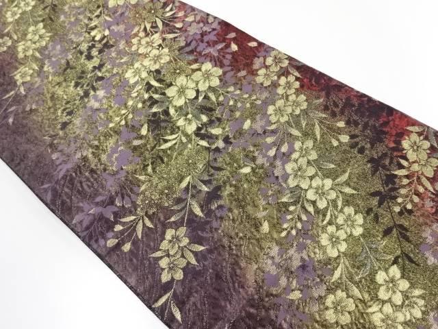 草花模様織出袋帯【リサイクル】【中古】