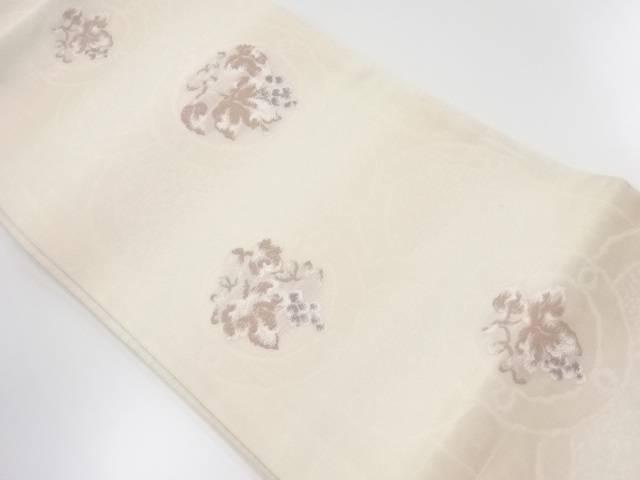 弥栄織物製 紗葡萄模様織出袋帯【リサイクル】【中古】