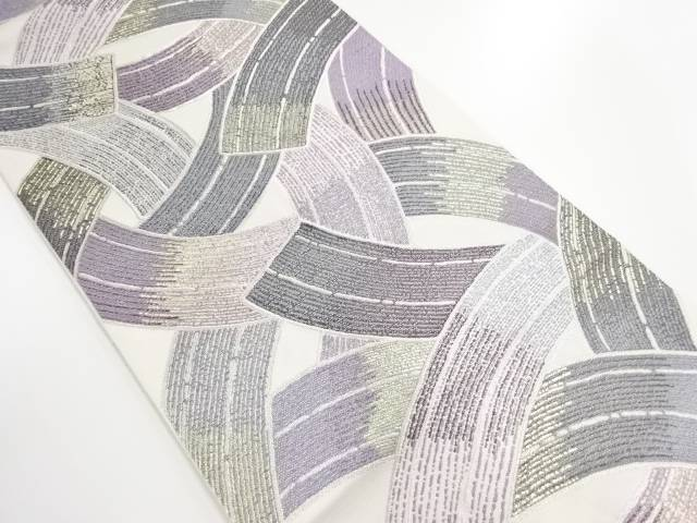 作家物 抽象模様織り出し袋帯【リサイクル】【中古】