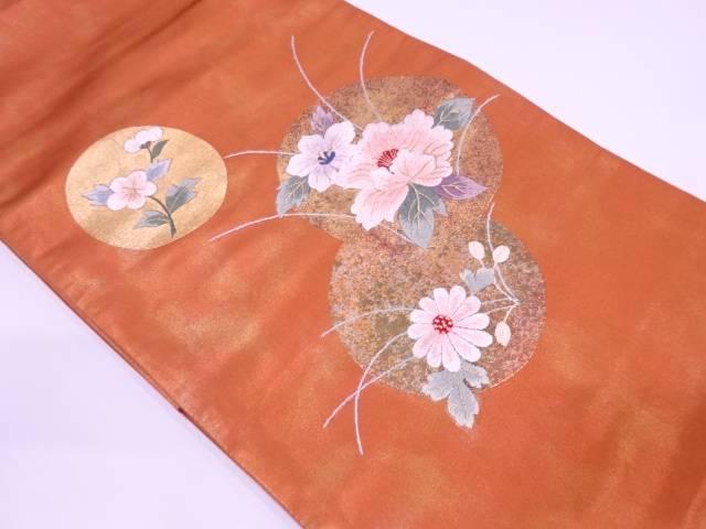 丸紋に草花模様刺繍袋帯【リサイクル】【中古】
