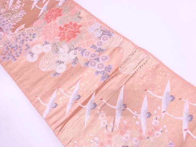 群鶴に御所車・草花模様織出し袋帯【リサイクル】【中古】