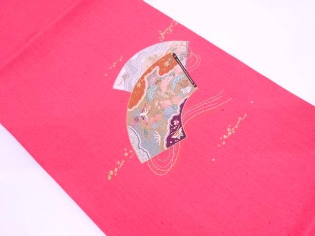 手織り真綿紬相良刺繍地紙に松竹梅・花鳥模様名古屋帯【リサイクル】【中古】