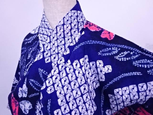 浴衣 絞り 蝶と草花文様 【リサイクル】【中古】, ブランド品専門の 2d24499b