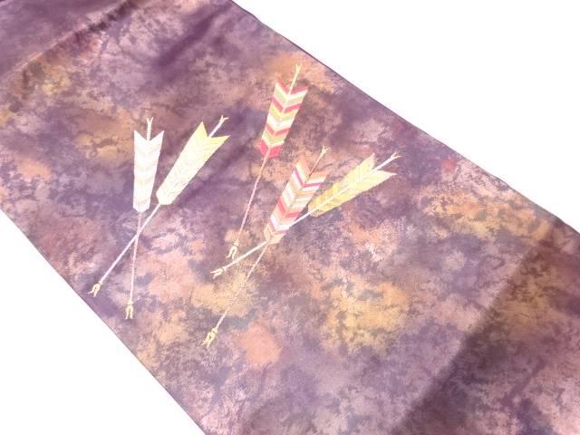 矢羽模様織出し名古屋帯【リサイクル】【中古】