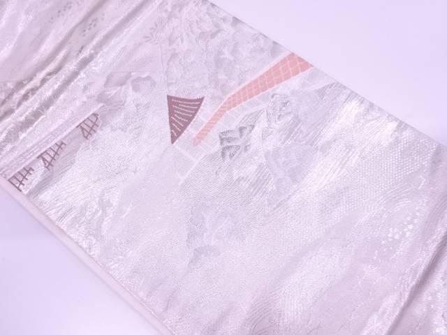 未使用品 プラチナ箔二重織枯山水に橋・樹木風景模様織出し名古屋帯【リサイクル】【中古】