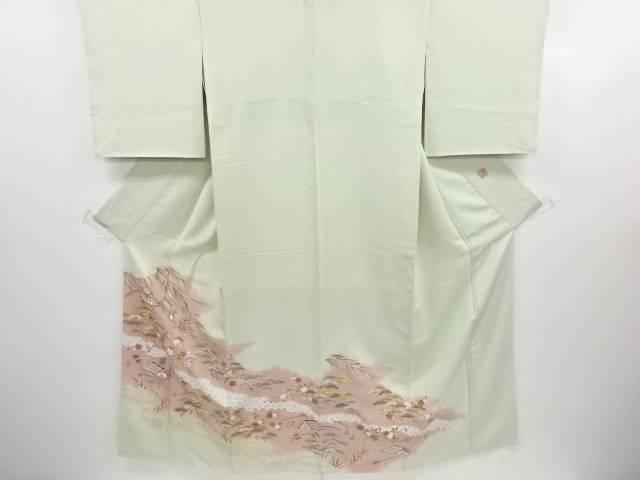 千總謹製 手描き友禅松竹梅に屋敷模様刺繍一つ紋色留袖【リサイクル】【中古】