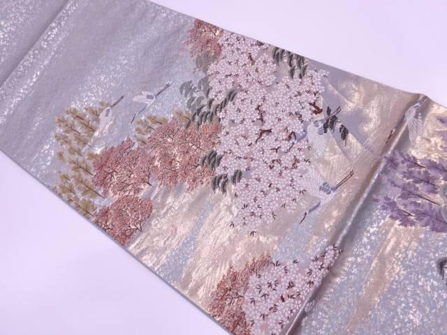 未使用品 双鶴に風景模様織出し袋帯【リサイクル】【中古】