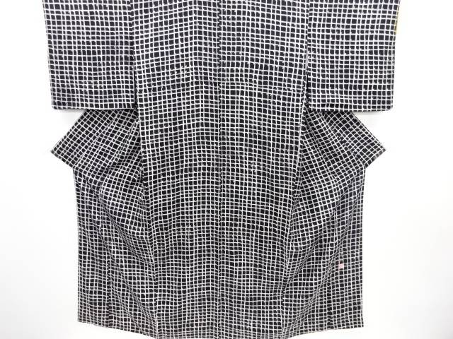 小糸敏作 格子に抽象模様小紋着物【リサイクル】【中古】