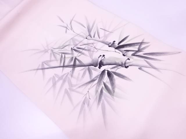 作家物 塩瀬手描き竹笹模様名古屋帯【リサイクル】【中古】
