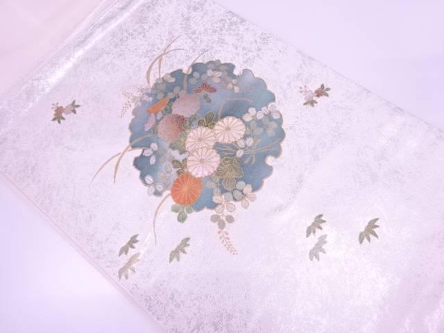 螺鈿雪輪に草花模様名古屋帯【リサイクル】【中古】