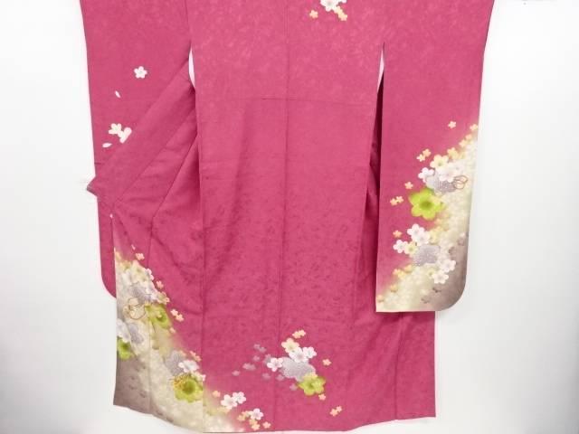 金彩桜模様刺繍振袖・袋帯セット【リサイクル】【中古】