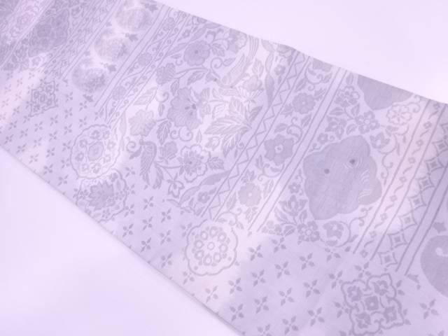 花鳥模様織出し袋帯【リサイクル】【中古】