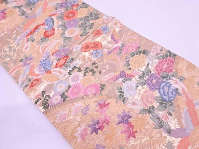 鳳凰に草花模様織出し袋帯【リサイクル】【中古】