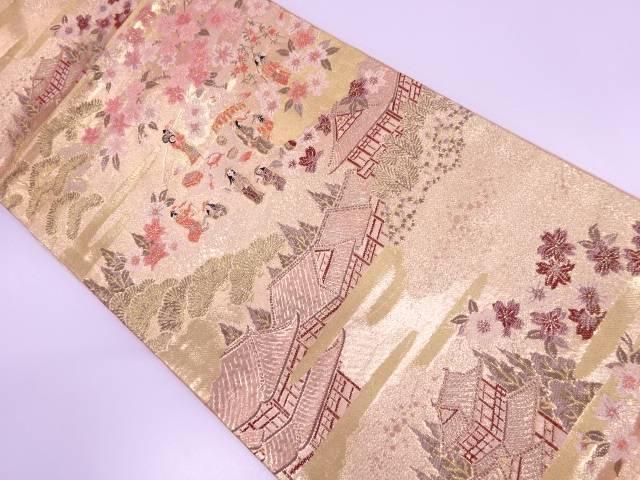 時代人物風景模様織出し袋帯【リサイクル】【中古】