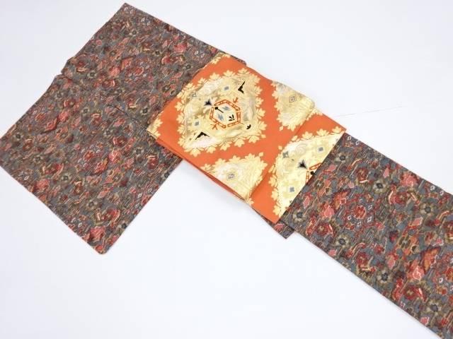 抽象花更紗模様手織り真綿紬着物・開き名古屋帯セット【リサイクル】【中古】