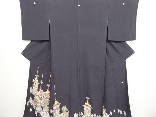 作家物 金彩手描き友禅祇園風景模様三つ紋色留袖【リサイクル】【中古】
