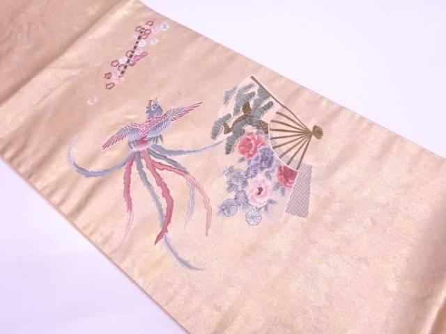 引箔蘇州刺繍鳳凰に扇面・草花模様袋帯【リサイクル】【中古】