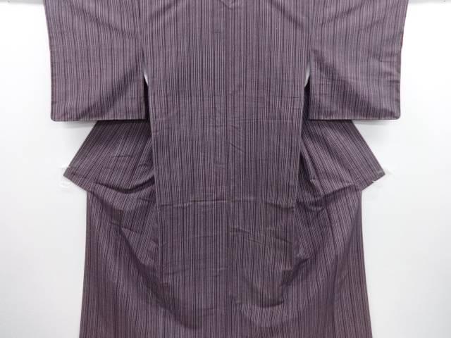 未使用品 東京ますいわ屋 縞織り出し手織り真綿紬着物【リサイクル】【中古】