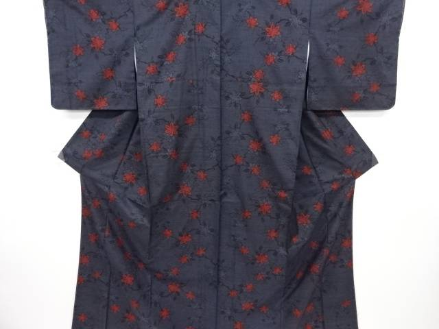 未使用品 紅葉模様織り出し本場泥大島紬着物(5マルキ)【リサイクル】【中古】