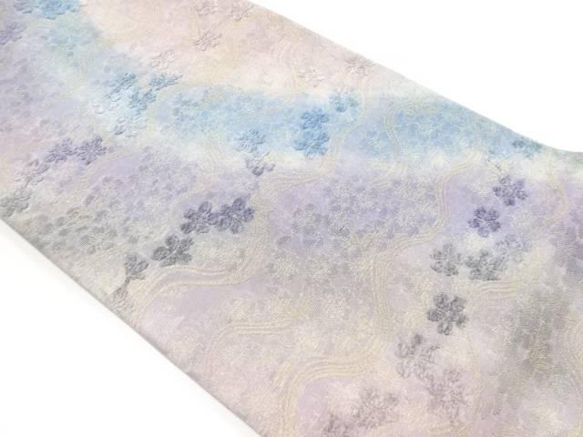 金糸波に桜模様織り出し袋帯【リサイクル】【中古】
