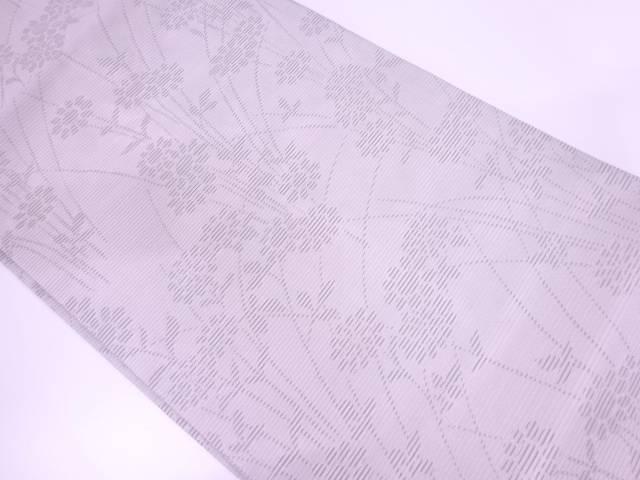 駒絽秋草模様織出し法事用名古屋帯【リサイクル】【中古】