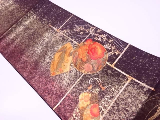 未使用品 引箔金彩地紙に草花・印籠模様織出し袋帯【リサイクル】【中古】