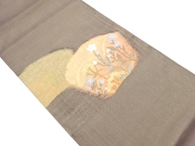金通し桔梗模様織り出し袋帯【リサイクル】【中古】
