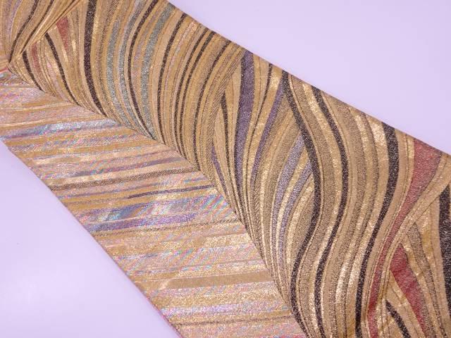 抽象模様織出し振袖用袋帯【リサイクル】【中古】