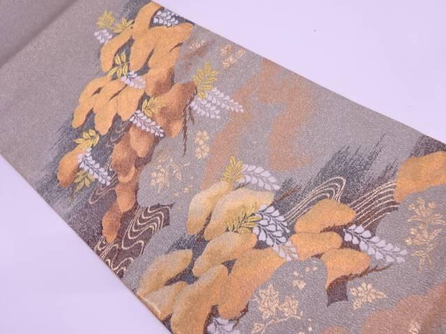 未使用品 綴れ純金箔霞に松・藤模様織出し袋帯【リサイクル】【中古】