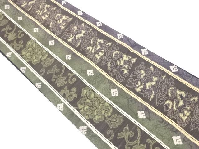 金通し縞に花兎模様織出袋帯【リサイクル】【中古】