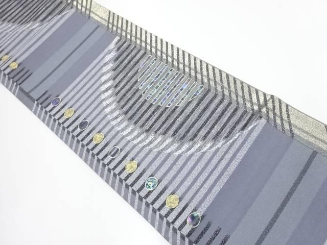 螺鈿金銀糸横段に水玉模様袋帯【リサイクル】【中古】