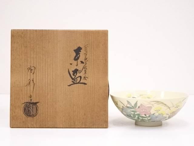 京焼 陶彩造 仁清写撫子秋草絵茶碗
