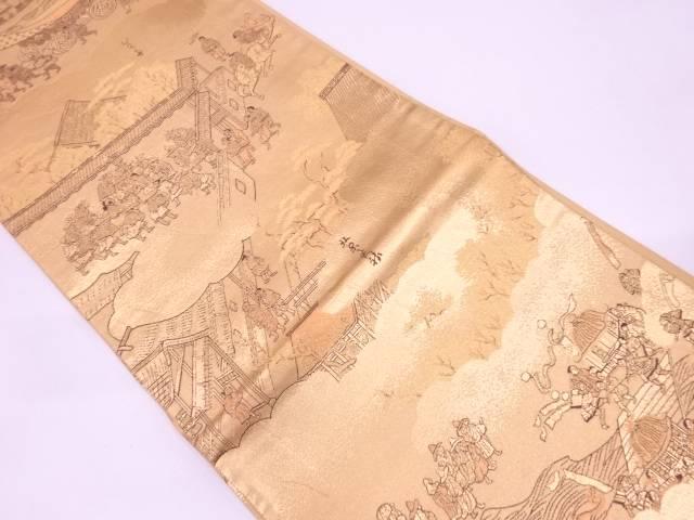 本金二重箔洛中洛外祇園祭模様織出し全通袋帯【リサイクル】【中古】