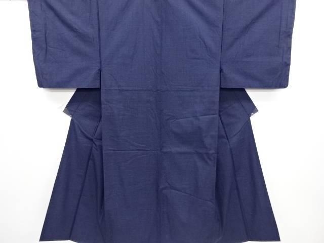 未使用品 小格子織り出し手織り紬男物着物アンサンブル【リサイクル】【中古】