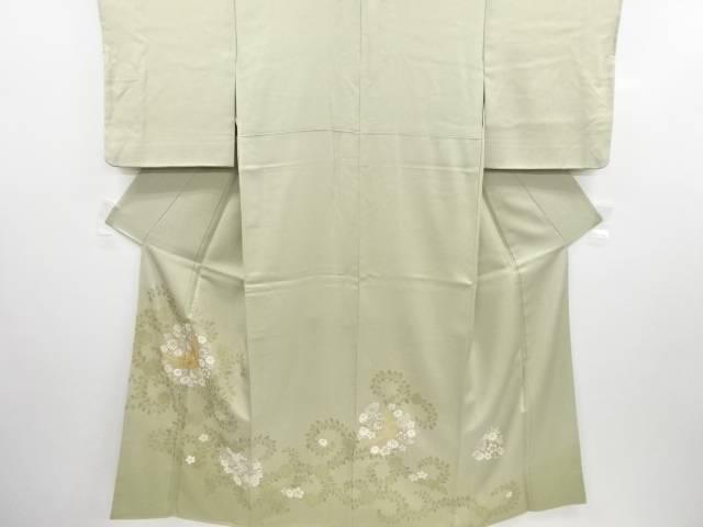金彩鶴に牡丹唐草・花模様刺繍三つ紋色留袖【リサイクル】【中古】